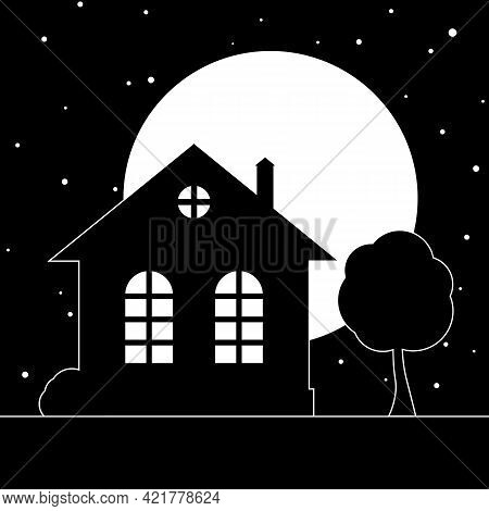 Stylized Night Village Landscape With A House And A Tree. Vector Illustration.