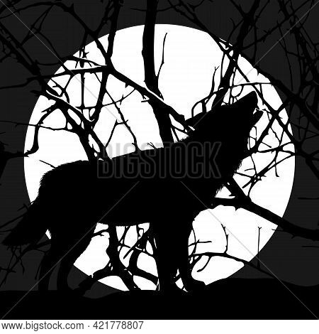 Silhouette Of A Howling Wolf Against The Background Of The Moon In The Forest. Vector Illustration.