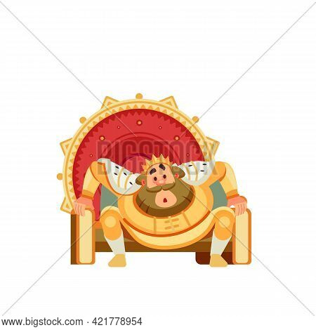 Surprised King Character Sits On The Throne. Astonished Stunned, Amazed, Bewildered, Puzzled, Smitte