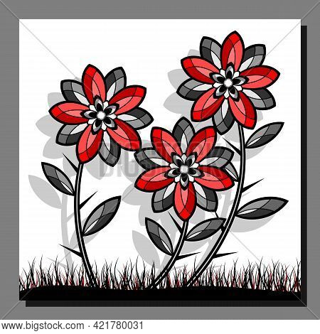 Stylized Red Flowers. Abstract Floral Image. Vector Illustration.