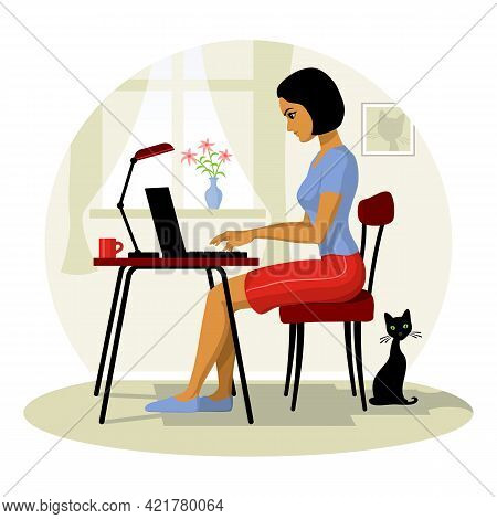 Young Woman Works On Laptop From Home. The Girl At The Computer Sits. Vector Illustration.