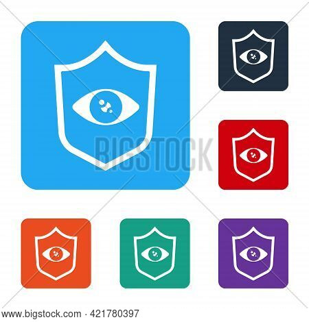 White Shield Eye Scan Icon Isolated On White Background. Scanning Eye. Security Check Symbol. Cyber