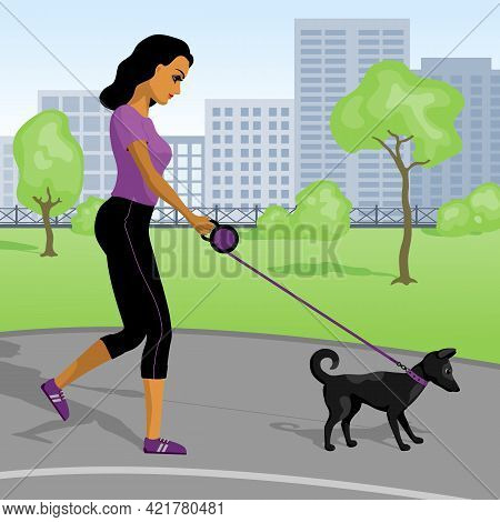 Young Woman Walking With Her Puppy  In The Park. Vector Illustration.