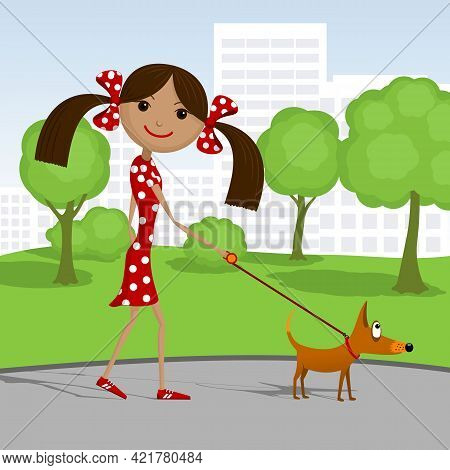 Happy Girl Walking With Her Dog In The Park. Vector Illustration.