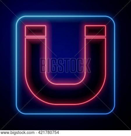 Glowing Neon Magnet Icon Isolated On Blue Background. Horseshoe Magnet, Magnetism, Magnetize, Attrac