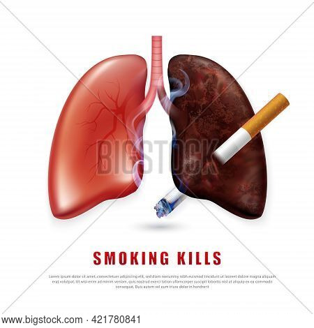 Stop Smoking Campaign Illustration No Cigarette For Health Cigarette Puncture Realistic Lungs