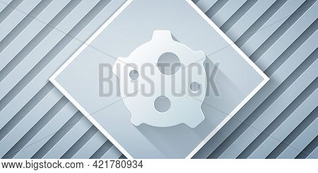Paper Cut Asteroid Icon Isolated On Grey Background. Paper Art Style. Vector