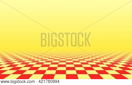 Abstract Checkered Floor In Yellow Sunny Surreal Interior. Room With No Horizon And Tiled Floor.