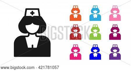 Black Nurse Icon Isolated On White Background. Medicine And Health Care. Happy International Nurses