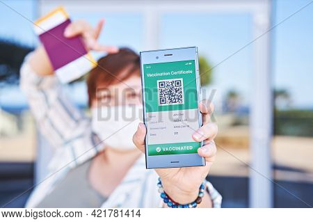 Happy Woman Holding Smartphone Displaying On App Mobile Valid Digital Green Vaccination Certificate