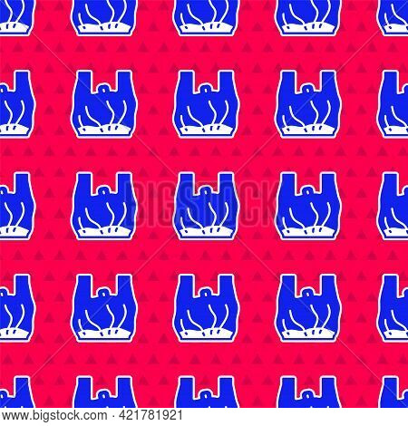 Blue Say No To Plastic Bags Poster Icon Isolated Seamless Pattern On Red Background. Disposable Cell