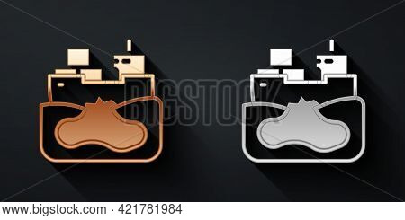 Gold And Silver Wrecked Oil Tanker Ship Icon Isolated On Black Background. Oil Spill Accident. Crash