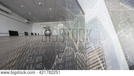 Composition of empty conference room with financial data processing over modern cityscape. global business and finance concept digitally generated image.
