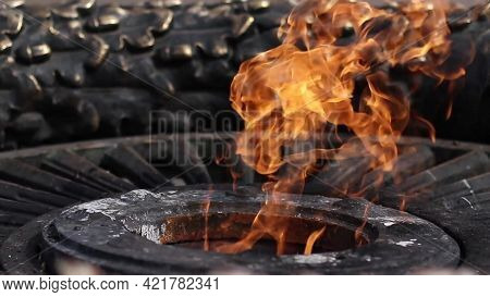 Close Up Of Eternal Flame Monument At Grave Of Unknown Soldier. Eternal Burning Fire Memory Memorial