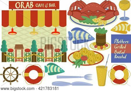 Vector Set Crab Cafe Showcase, Some Food And Drinks, Tasty Crab Dish With Lemon And Green Lettuce Le