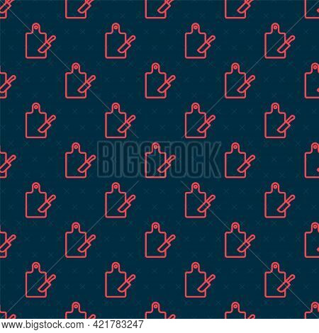 Red Line Cutting Board And Knife Icon Isolated Seamless Pattern On Black Background. Chopping Board