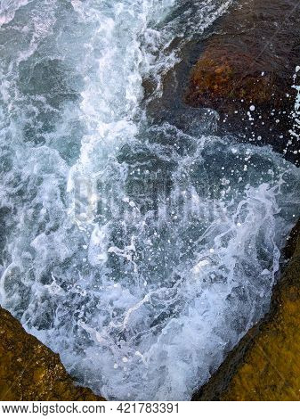 Beauty And Strength Of A Deep Blue Sea. Beautiful Seawaves Texture.