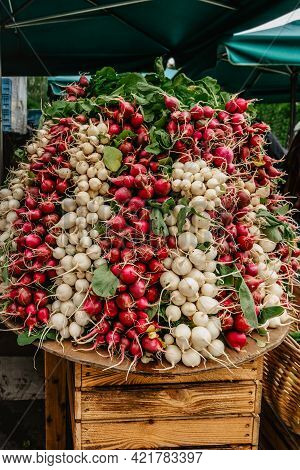 Detail Of Fresh White And Red Radish In Farmers Market.edible Root Vegetable. Healthy Diet Eating. G