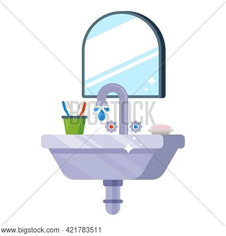 A Clean Sink In The Toilet For Washing In The Morning. Flat Vector Illustration.