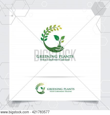 Agriculture Logo Design With Concept Of Hand Icon And Plants Vector. Green Nature Logo Used For Agri