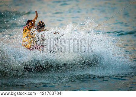30 August 2008  Belgrade Serbia, Boat Carnival, Sunset Jet- Ski Competition  On Sava River