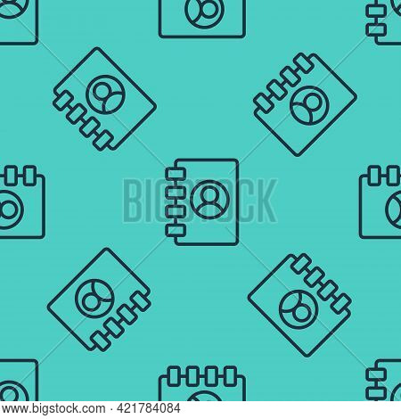 Black Line Address Book Icon Isolated Seamless Pattern On Green Background. Notebook, Address, Conta
