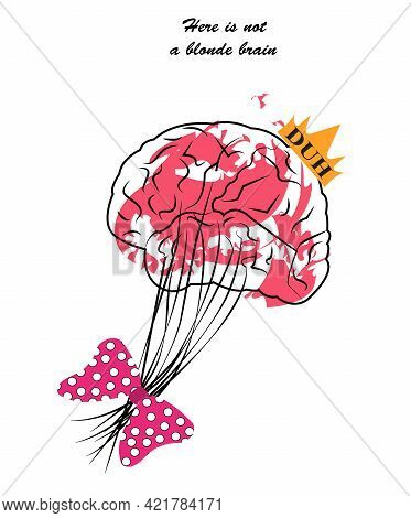 Illustration Of A Blonde Brain For Being Stupid With A Pink Ribbon On Its Neurons