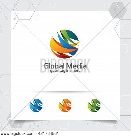 Abstract Global Logo Vector Design With Arrow On Sphere And Digital Symbol Illustration For Consulti
