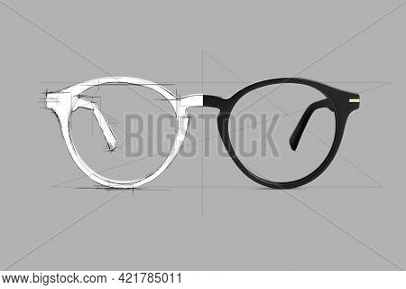 Design Sketch Draft Black Color Eye Glasses Isolated On Gray Background, Ideal Photo For Display Or