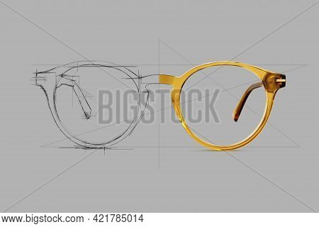 Design Sketch Draft Beige Color Eye Glasses Isolated On Gray Background, Ideal Photo For Display Or