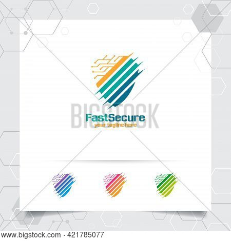 Security Shield Logo Design With Concept Of Protection Shield Vector And Technology Icon For Data Pr