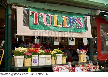 Seattle, Washington Usa - April 17, 2018. Flower Stand Pike Place Market. Fresh Tulips For Sale At A