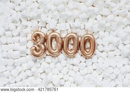 3000 Followers Card. Template For Social Networks, Blogs. Background With White Marshmallows. Social