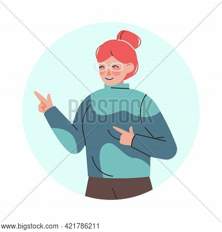 Smiling Female Pointing Fingers Making Positive Hand Gesture In Circular Frame Vector Illustration