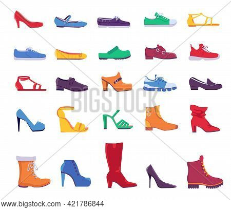 Shoes And Boots. Summer And Autumn Fashion Footwear For Man Or Woman. Casual And Formal Leather Shoe