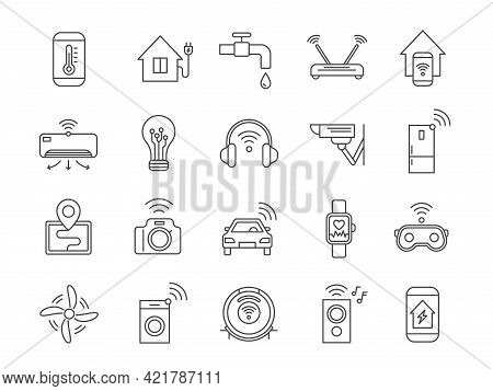 Iot Line Icons. Internet Of Things Wireless Technology, House Appliances, Car, Gadgets And Devices.