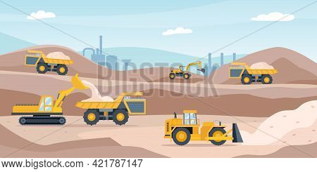 Quarry Landscape. Sand Pit With Heavy Mining Equipment, Bulldozer, Digger, Trucks, Excavator And Fac