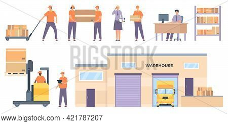 Logistics Workers. Merchandise Warehouse Building And Truck, Shelves With Parcels, Couriers, Forklif