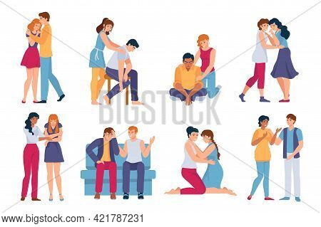 Friends Comforting. Mental Support For Stressed, Sad And Depressed People. Family Hug, Care And Comf