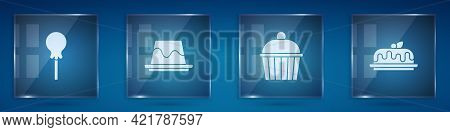 Set Lollipop, Pudding Custard, Cake And . Square Glass Panels. Vector