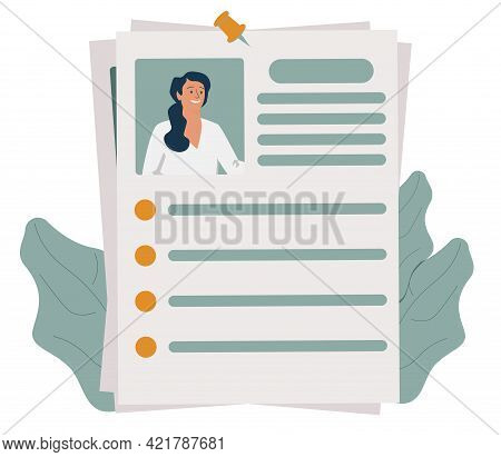 Curriculum Vitae Or Cv And Magnifying Glass. Concept Of Professional Staff Recruitment, Job Applicat