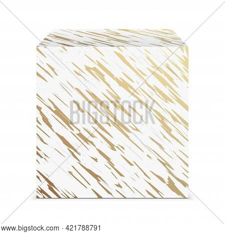 Marble Material Cube Isolated On A Background.
