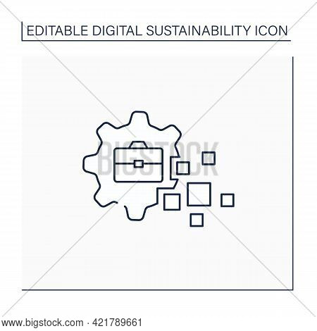 Business Transformation Line Icon.fundamental Changes In Business Sphere. Digital Technology Integra