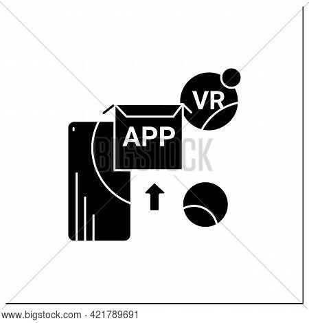 Vr Apps Glyph Icon. Applications Help Immersive In 3d World, That Digitally Simulates Virtual Enviro