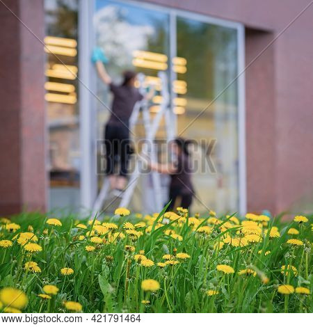 Blurred Image Of Girls Workers Washing Shop Windows, Spring, Bright Dandelions In Foreground. Abstra