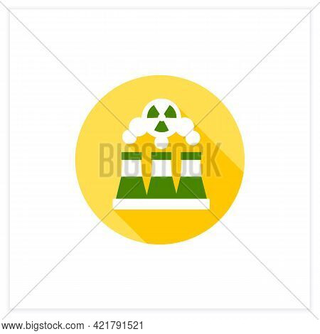 Fusion Reactor Flat Icon. Electrical Power From Nuclear Fusion Power. Electricity Station Concept. V