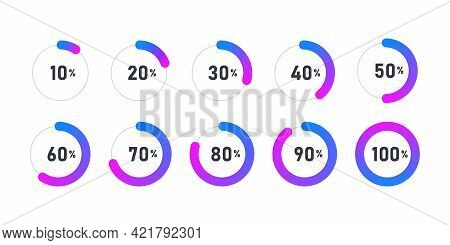 Loading Icon. Progress Bar For Upload. Collection Of Loading Status Icons. Vector Illustration