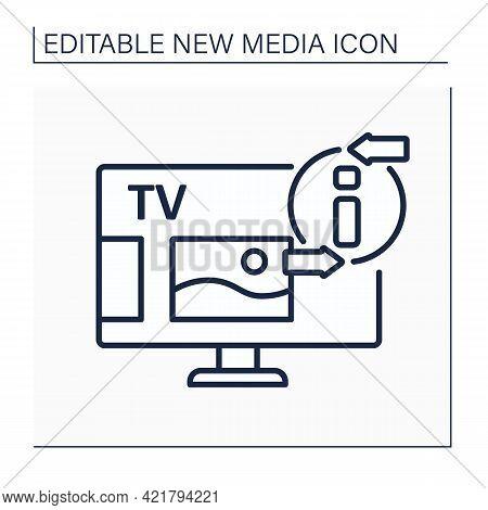 Television Line Icon. Telecommunication Medium. Transmitting Moving Images, Video, Tv Shows, News. I