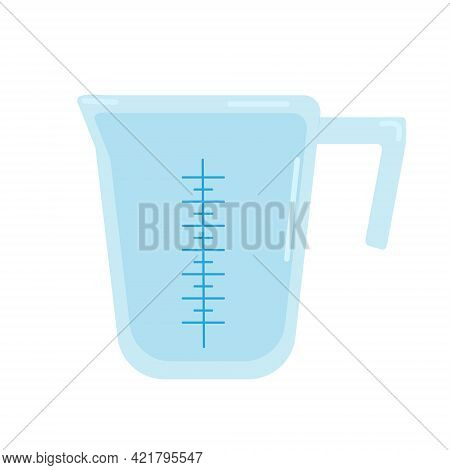 Plastic Measuring Cup For Kitchen, Vector Clipart In Cartoon Style On A White Background, Isolate