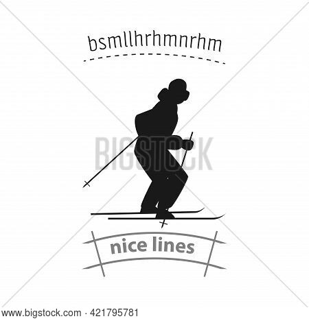 Skiing Sportsman Simple Vector Icon. Skiing Isolated Icon
